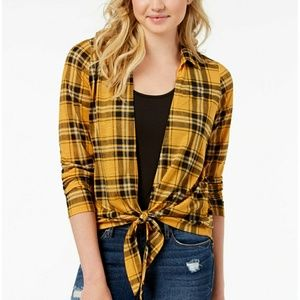 Tops - Plaid layer top/ cover up